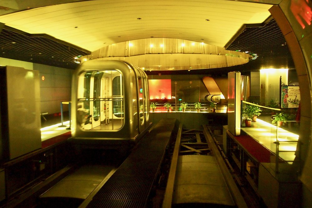 Your glass capsule ride to trip in the Bund Sightseeing Tunnel. Photo: (C) Remko Tanis