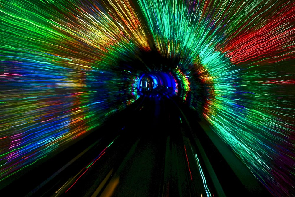 Light show in the Bund Sightseeing Tunnel in Shanghai, China. Photo: (C) Remko Tanis