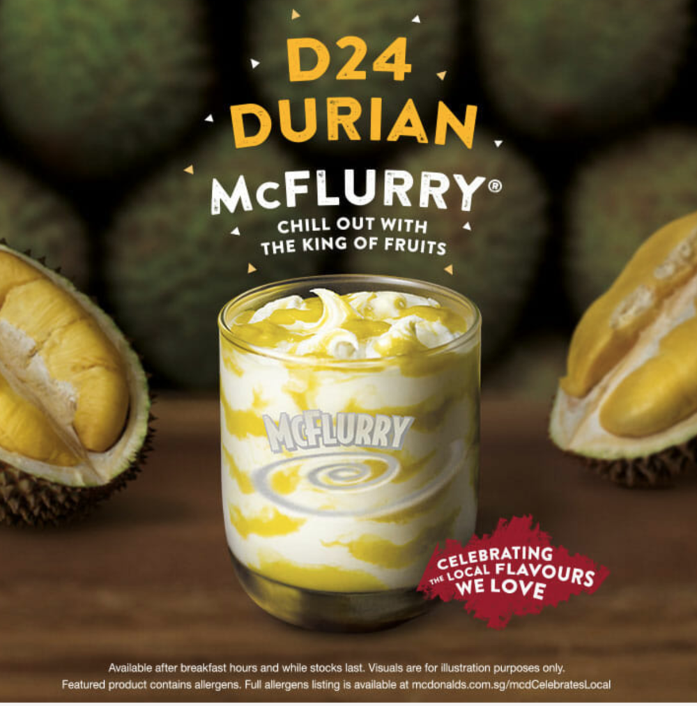 2018 McDonald's ad for the Durian McFlurry, sold in Singapore. Image: McDonald's Singapore.
