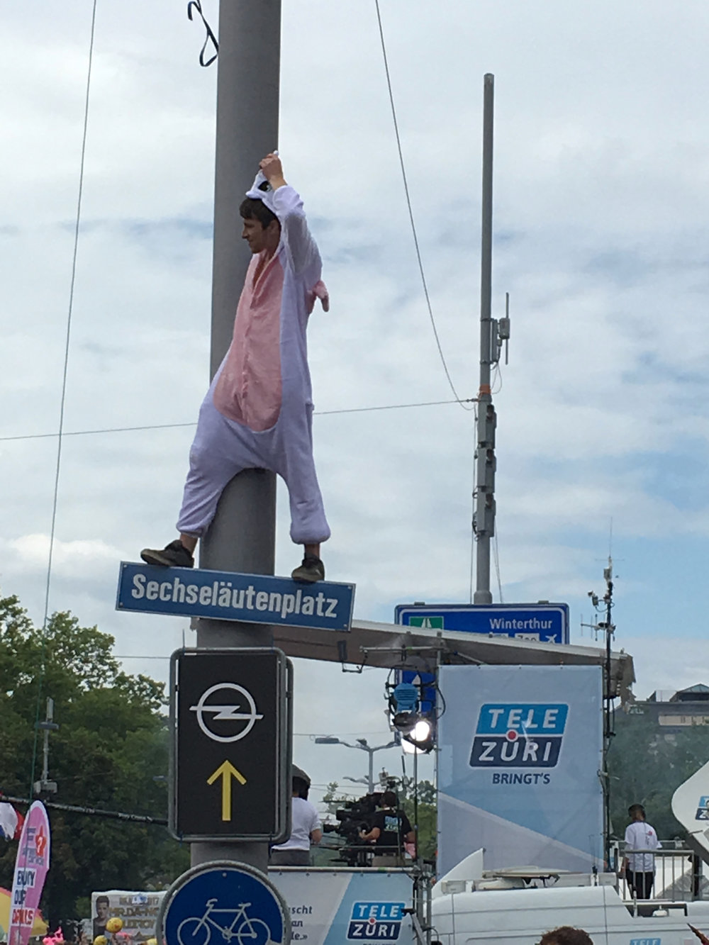Fined for climbing a street sign? Pay cash and it never happened. Street Parade in Zurich, Switzerland. Photo: (C) Remko Tanis
