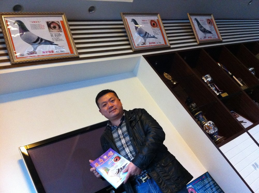 CEO Hu Zhen Yu in the office of his shipyard, where there's more references to his pigeon hobby than to shipbuilding. Photo: (C) Remko Tanis