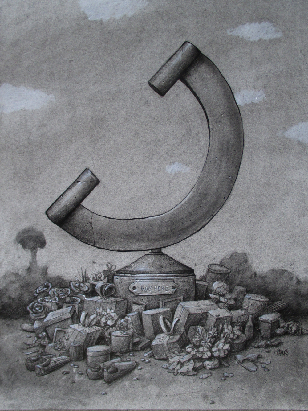 "'Was here', 2014, graphite on paper, 16"" x 12"""