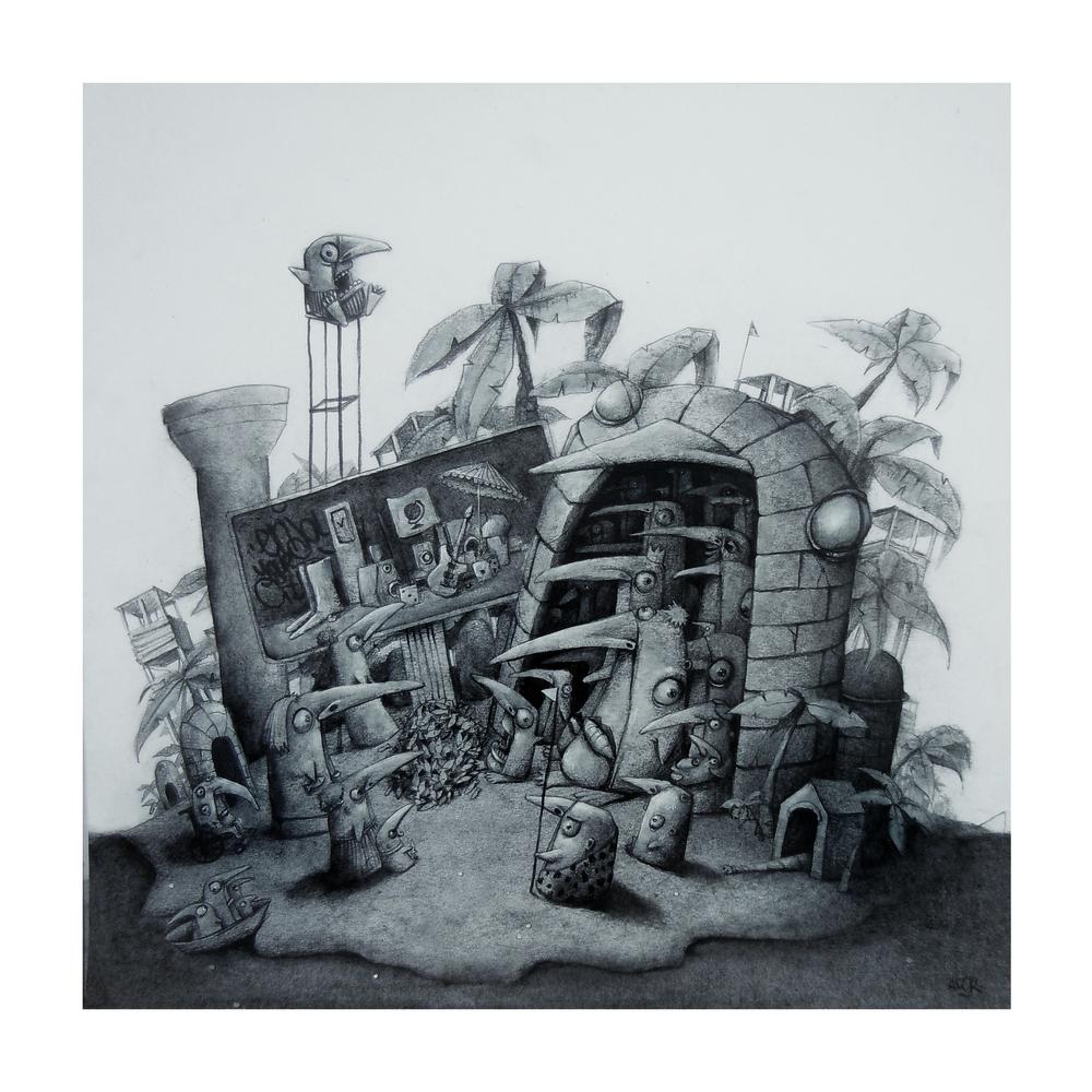 """Une île, graphite on paper, 19"""" x 19"""""""