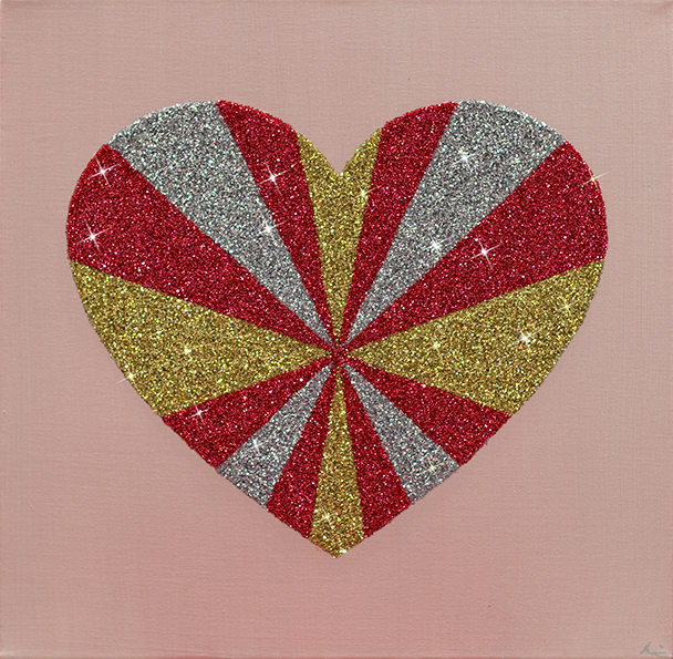 "'Gold Pink Silver Abstract Heart"" glitter on canvas, 20"" x 20"""