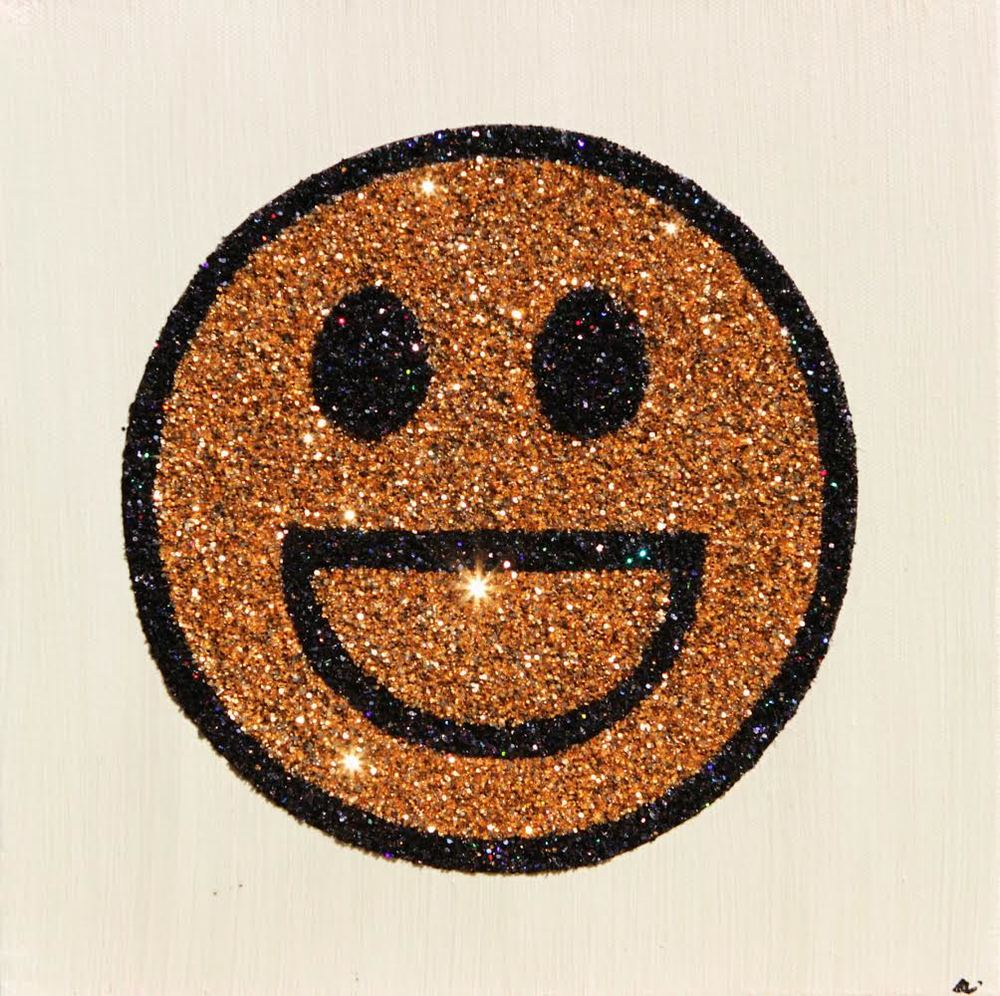 "'Open Smile Emoticon', glitter on canvas, 10"" x 10"""