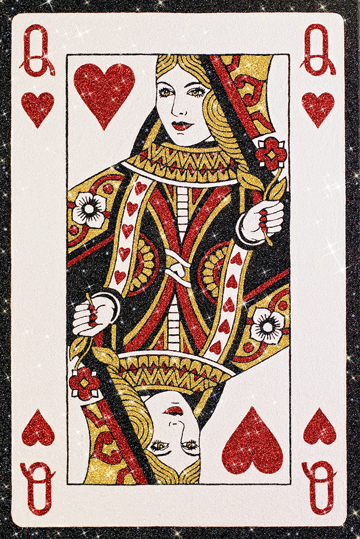 "'Queen of Hearts' glitter on canvas, 60"" x 40"""