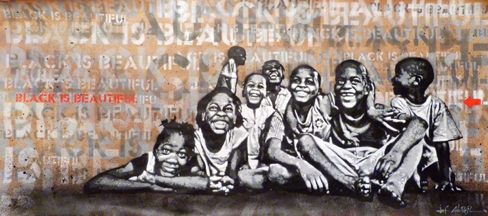 """Black is Beautiful"" - 17"" x 39"" – stencil on paper"
