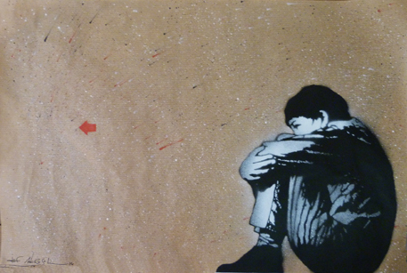 """Sitting Kid"" - 16"" x 24"" – stencil on paper"