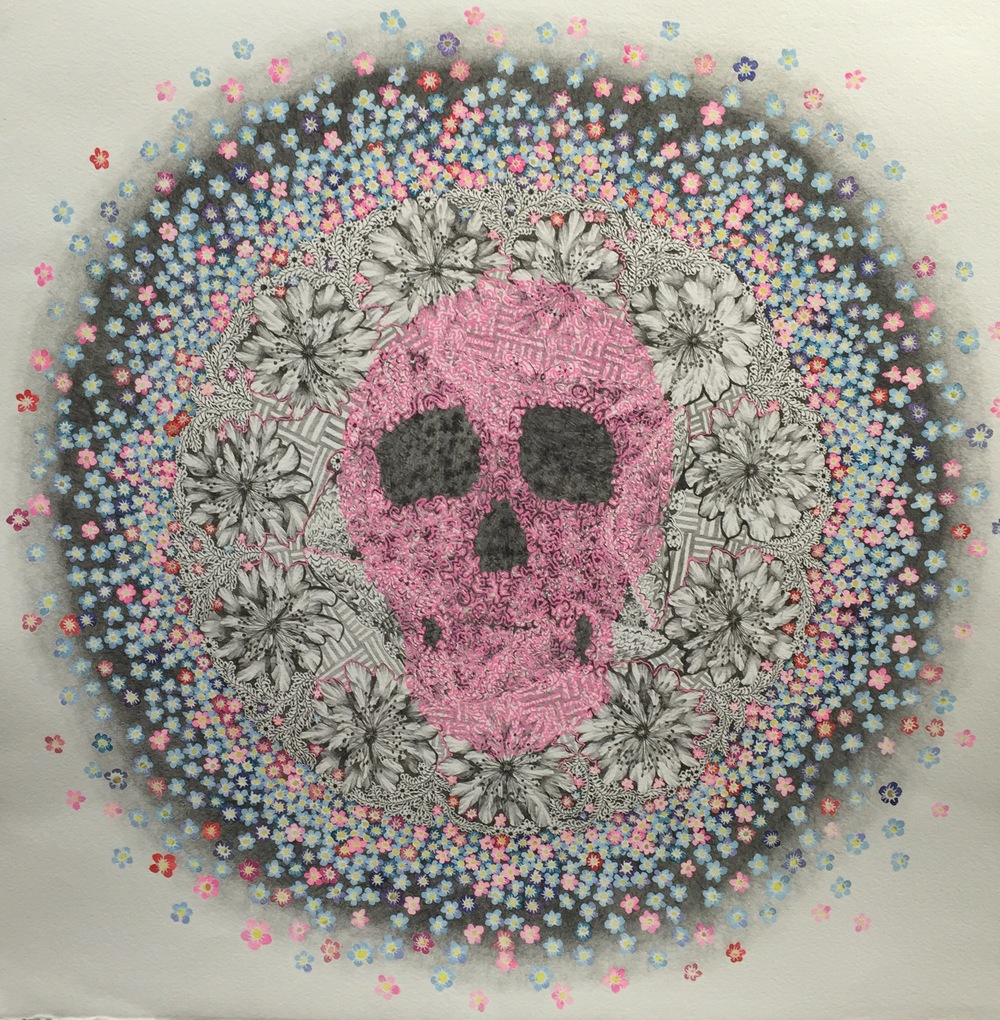 "Pink Skull -  Ink and g  raphite on paper - 24"" x 24"""