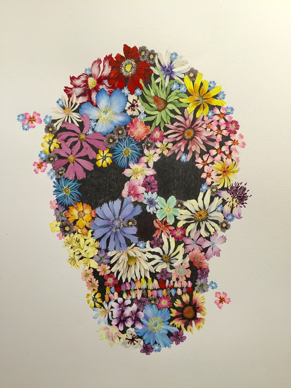 "Flower Skull - Ink and graphite on paper - 24"" x 24""  SOLD"