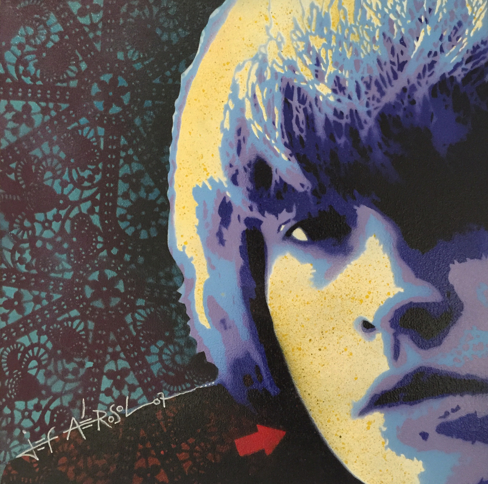 "Brian Jones - 16"" x 16"" - Stencil on canvas"