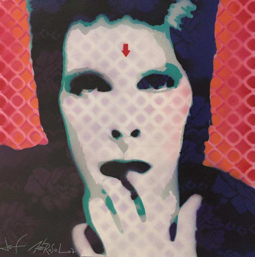"David Bowie -16"" x 16"" - Stencil on canvas"