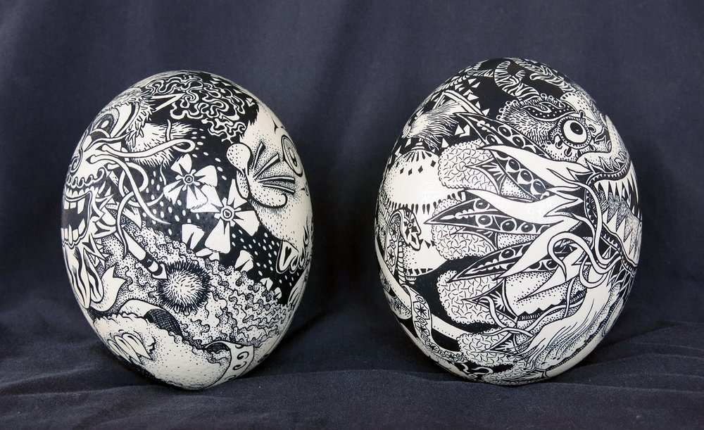 Posca marker on real ostrich eggs - Chinese rabbit and Chinese dragon series