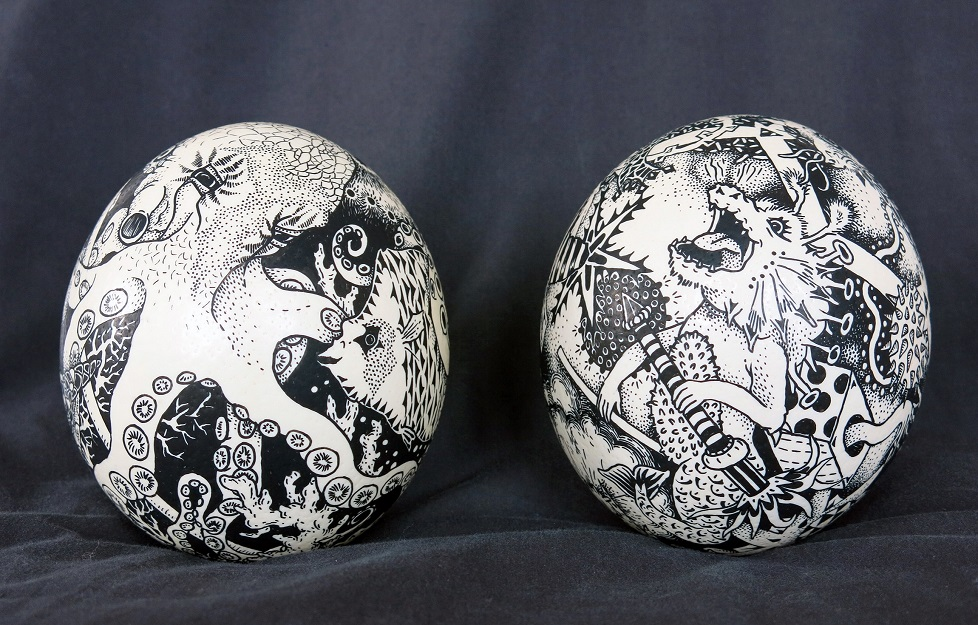 Posca marker on real ostrich eggs - Octopus and toys series