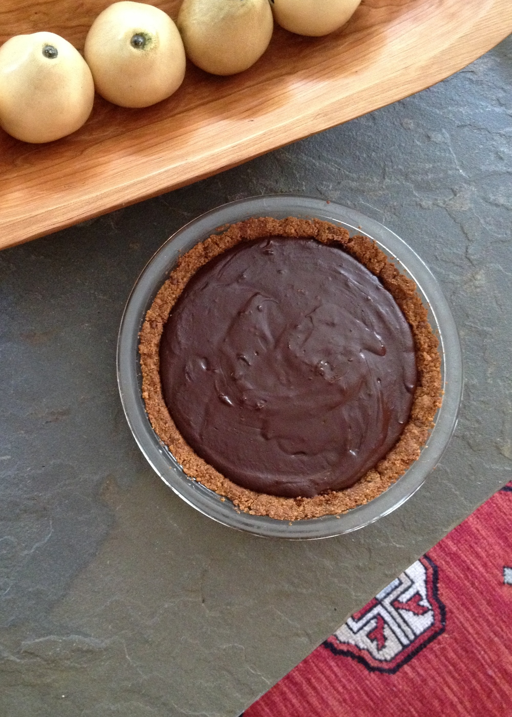 chocolate creme pie with choco coffee graham cracker crust