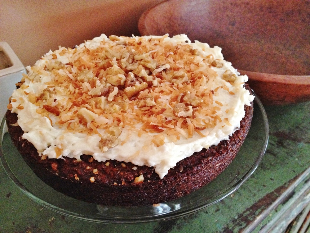 coconut carrot cake with coconut cream cheese frosting
