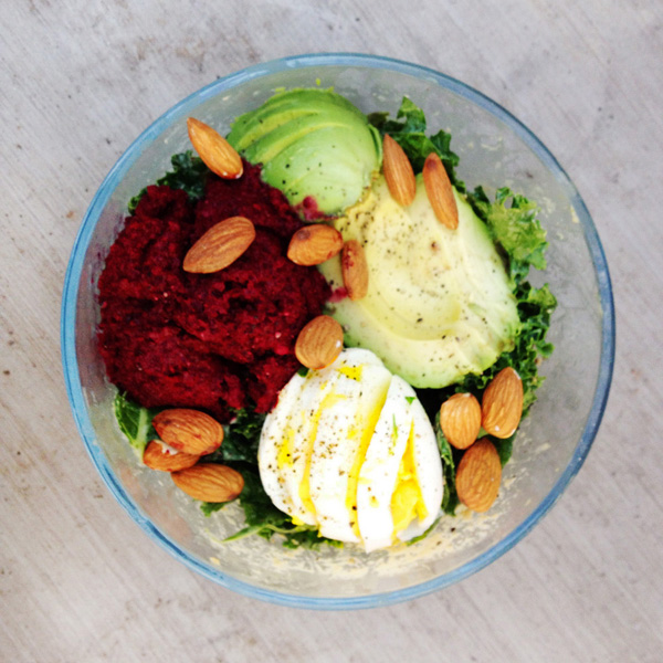 kale cobb salad with beet hummus + creamy tahini dressing