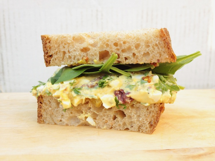 tahini egg salad + sultana tapenade