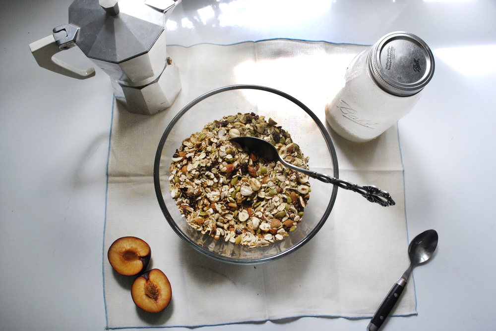 toasted muesli + date cinnamon almond milk | roux studio