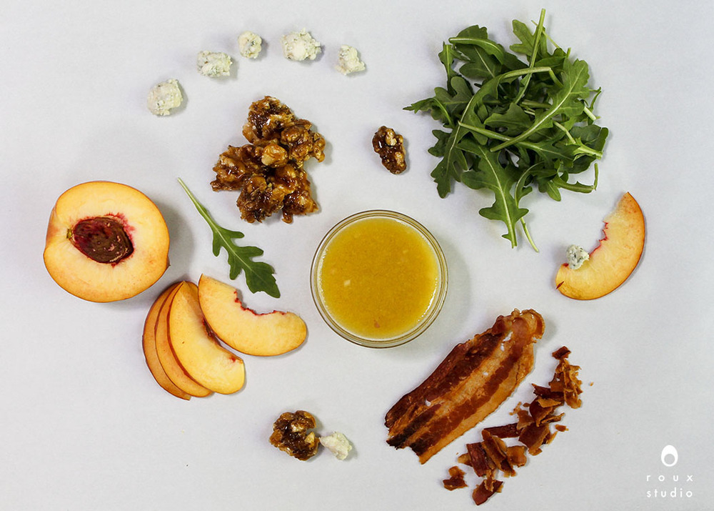 ingredients for summer arugula salad | roux studio