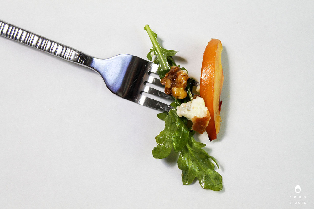 fork full of summer arugula salad | roux studio