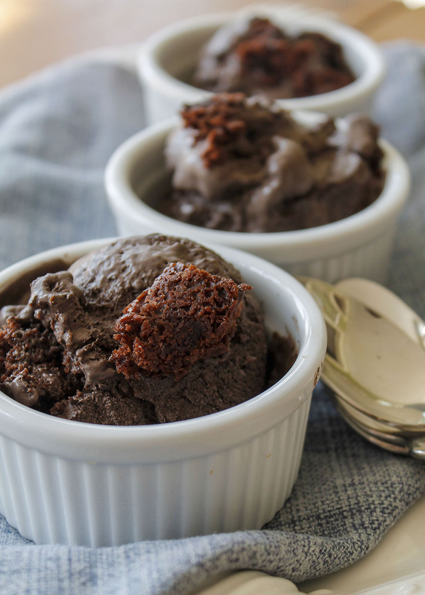dark chocolate fudgy brownie ice cream | roux studio