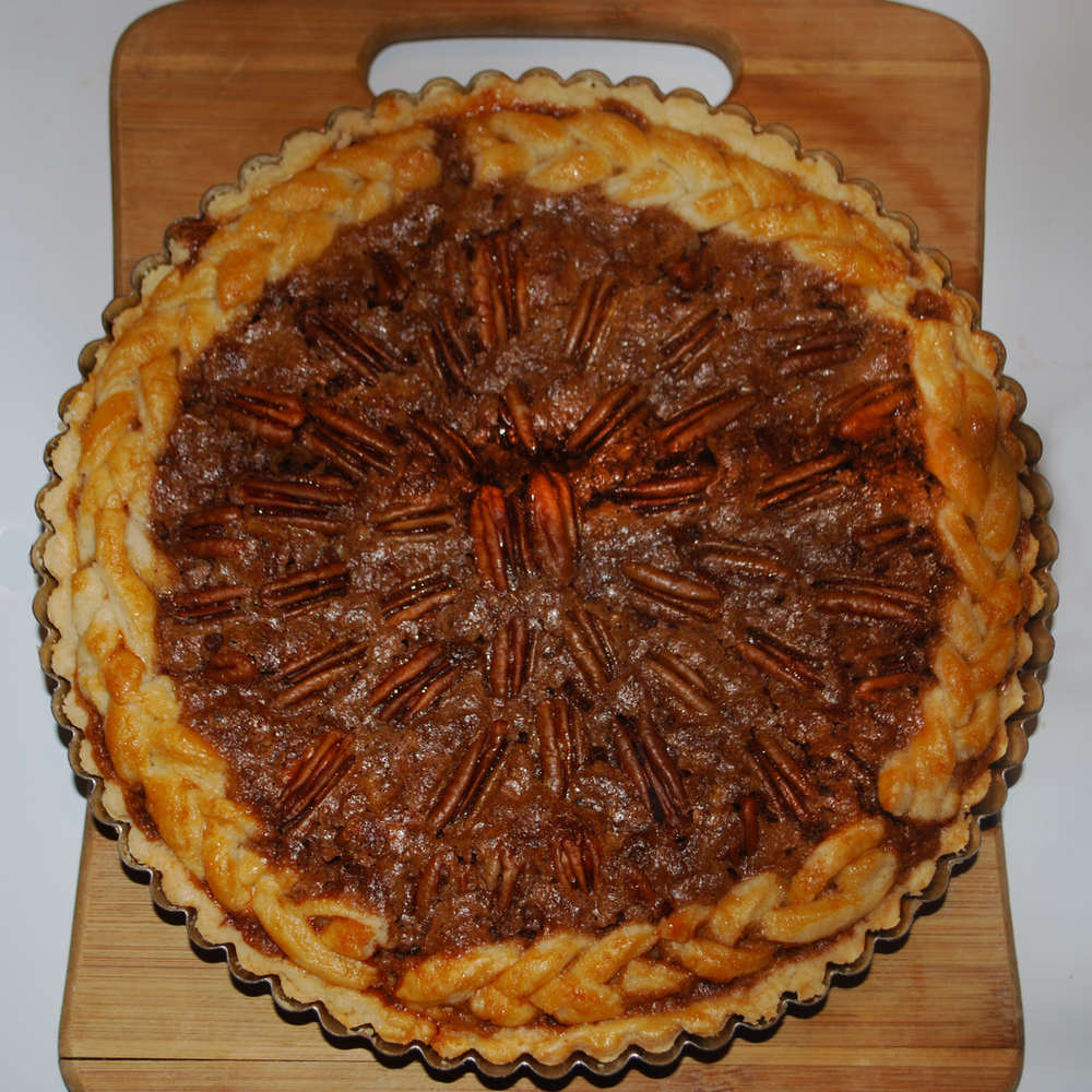 Julia's chocolate pecan pie with braided(!) crust.