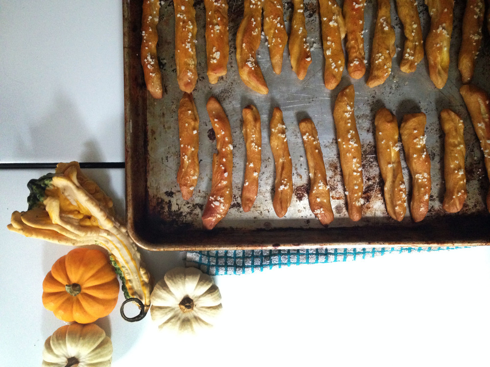 Pretzels and Cheesy Buttercup Squash Dip
