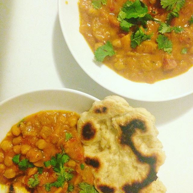 It's cold and wet outside and I'm imagining a situation where a make a big naan blanket and fall asleep under it until I eat it all and this pumpkin curry too
