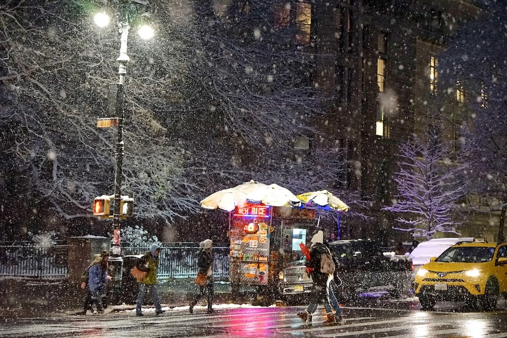 Snowfall on Central Park West, NYC