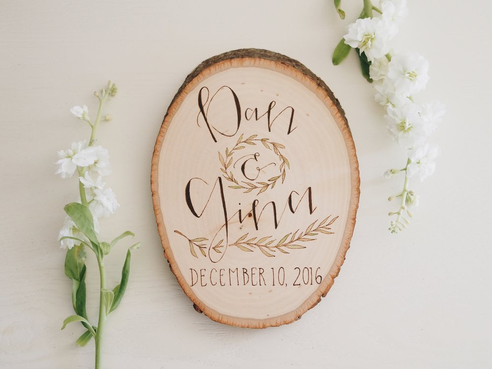 DAN & GINA ELOPEMENT WOOD ROUND