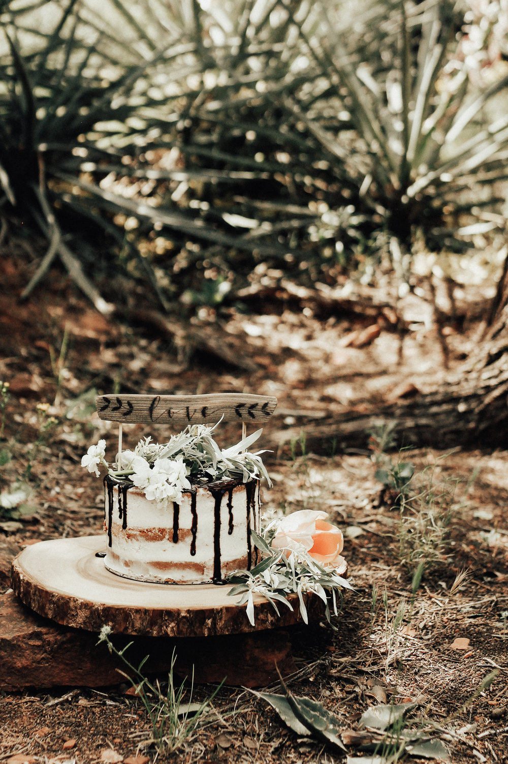 PHOTOGRAPHY/STYLING/CAKE: HEATHER ROCHA PHOTOGRAPHY FLOWERS FROM WHIPSTONE FARM, AZ LOCATION: SEDONA, AZ CAKE TOPPER: FIR + FOREST