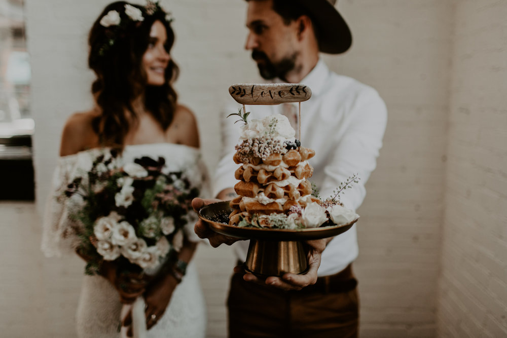 DESIGN/FLORALS: ALYSSA RUDMAN  PHOTOGRAPHY: LIZ RUDMAN  VENUE: NORTH 13TH IN ST. LOUIS  DRESS: JUNO BRIDAL  TIE: LONESOME TRAVELER  HAIR: CROWN BEAUTY BY KRISTINE  WAFFLES: FLIGHTS COFFEE  CAKE TOPPER: FIR + FOREST