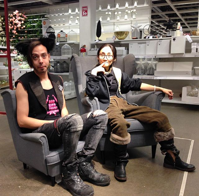 Team Döom Biscuit at IKEA yelling at towels. I am tempted to get two tiny armchairs to have tiny tea with @gothlet .  Photo by @ianthehenderson