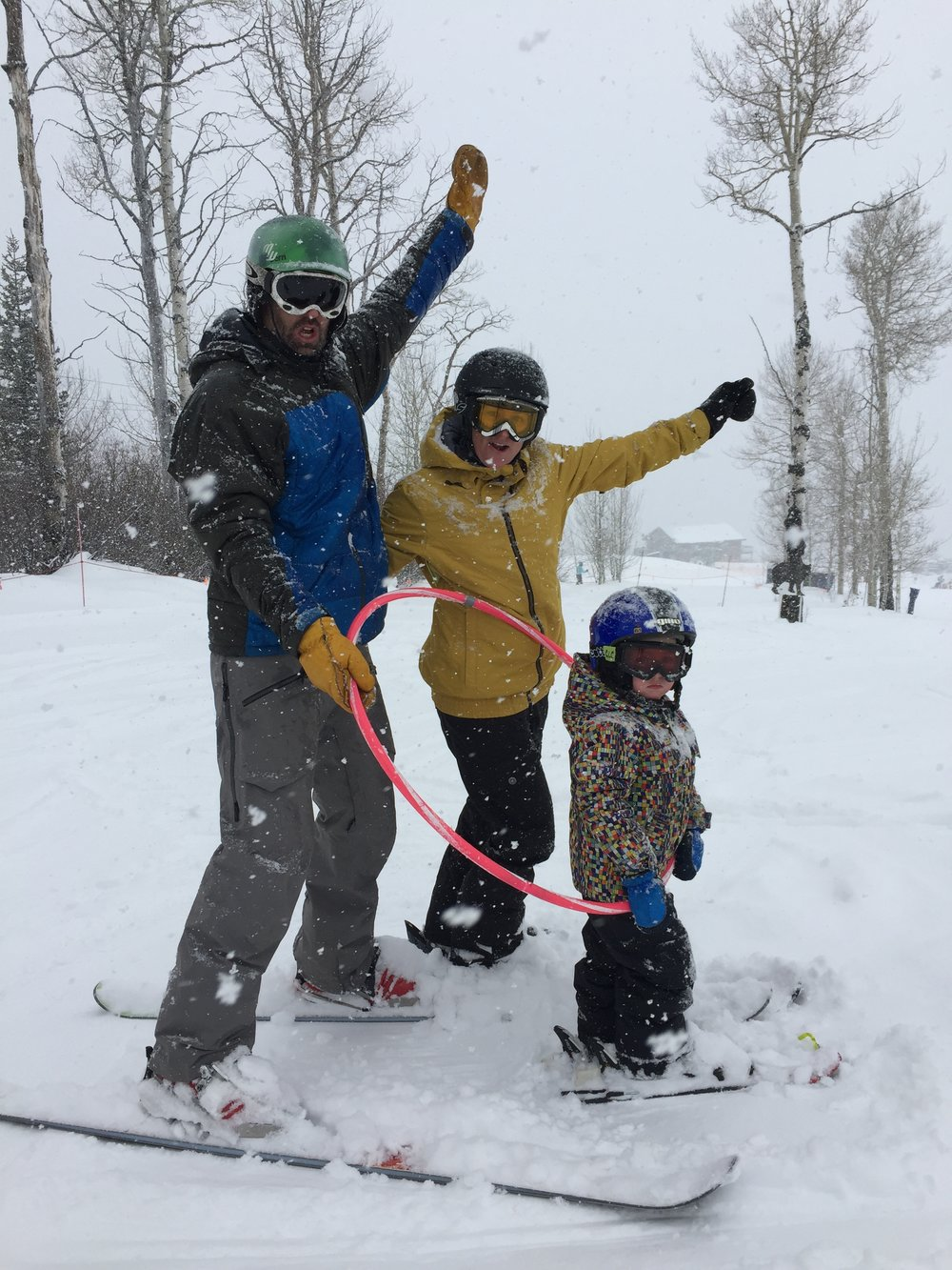 We actually Snowboard but here we are at Powderhorn teaching our son to Ski...