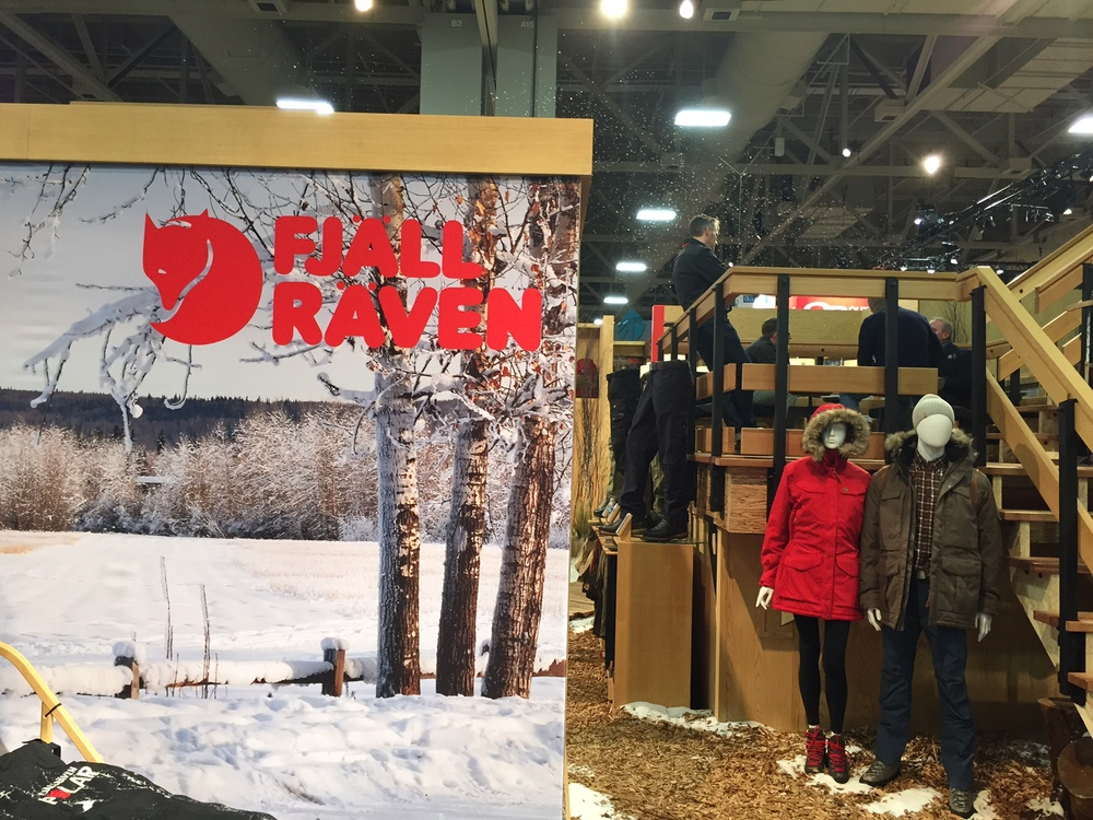 Fjallraven  had fake snow blowing out of their booth. They also had some really sexy gear.