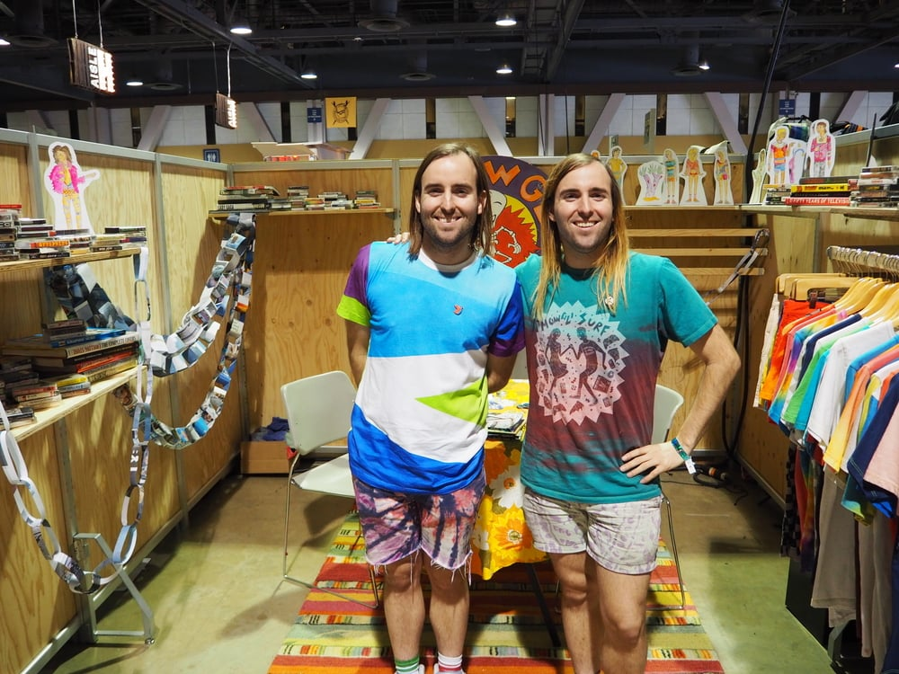 """Mowgli Surf:   These brothers have so much fun it's oozing out of their eyes. Their hand-colored goods are also oozing with fun. My favorite shirt from their collection just said """"Southern California"""" in some airbrush-colored hand lettering."""