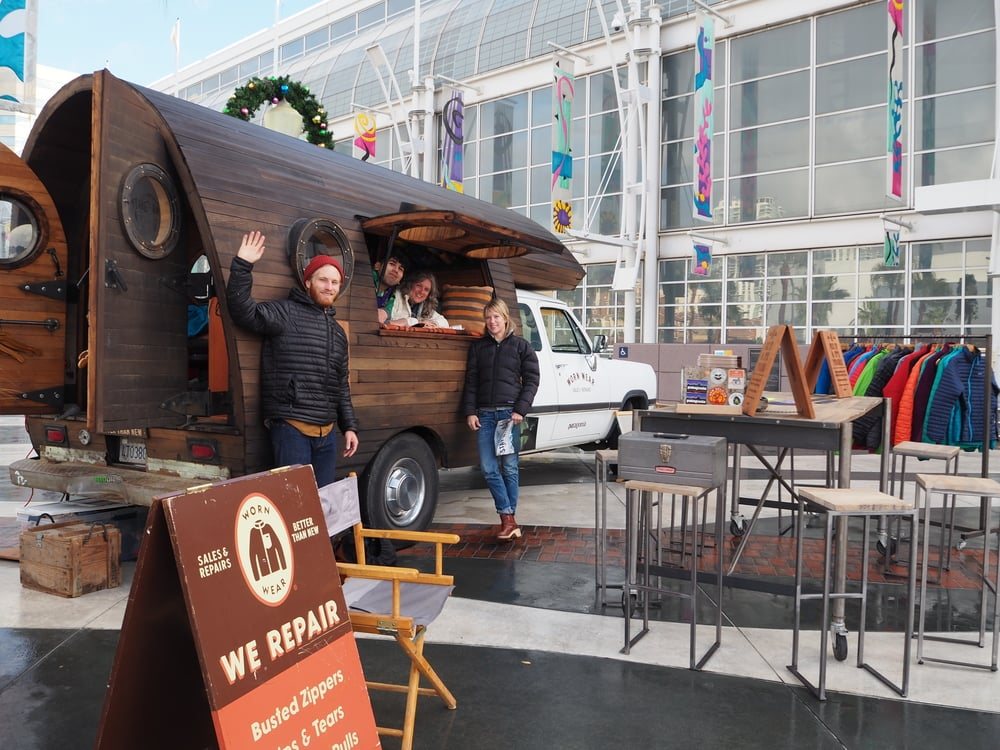 """Worn Wear: Patagonia's Worn Wear truck was set up at the front door of Agenda. I wanted to hug the person who decided to bring the """"If it's broke fix it"""" wagon to the """"It's new buy it"""" show."""