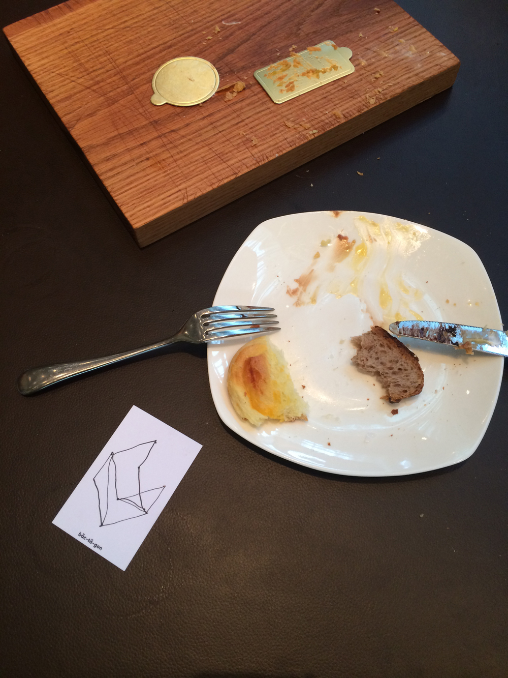 Cleaned Plates Post-Bombana Tasting + D'Antonio's Contribution to the Collective Business Card