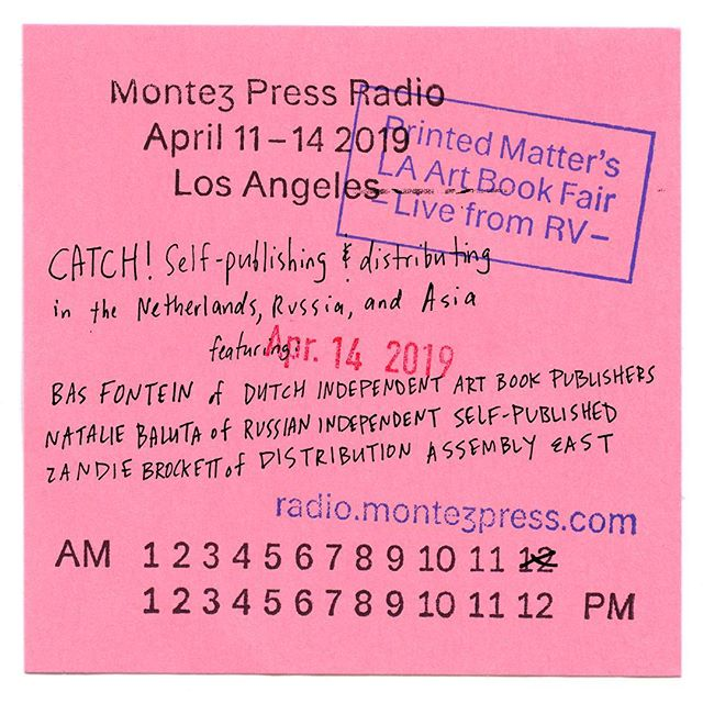 Today at noon, tune into @montezpressradio. #八家bajia editor-in-chief and @distributionassemblyeast member @zandiebrockett speaks with #dutchindependentartbookpublishers @bas_fontein and #RussianIndependedntSelfpublished #nataliebaluta about self-publishing and the collectivizing of independent presses for global distribution.