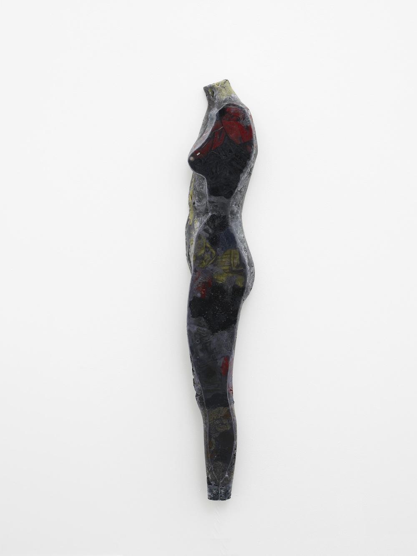 Simone  2013  Wax, clothing and varnish  150 x 24 x 9 cm / 59 x 9.4 x 3.5 in