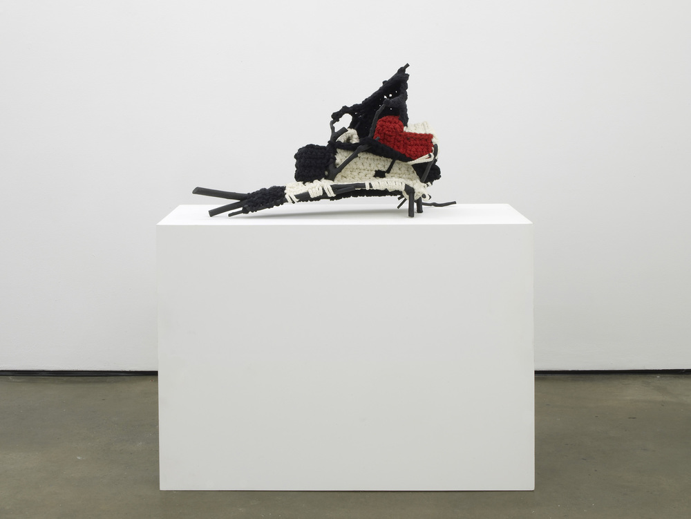 SHIP II  2011  Wood, paint, wool, metal  49 x 40 x 89 cm / 19.2 x 15.7 x 35 in