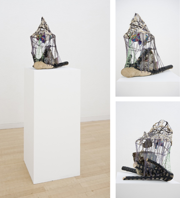 Float  2010  wood, paint, fabric, yarn, stones, mortar, pigment, plastic, plaster, hair, rubber, wire  51 x 48 x 38 cm / 20 x 18.8 x 14.9 in, plinth: 101 x 46.5 x 45 cm / 39 x 18.3 x 17.7 in
