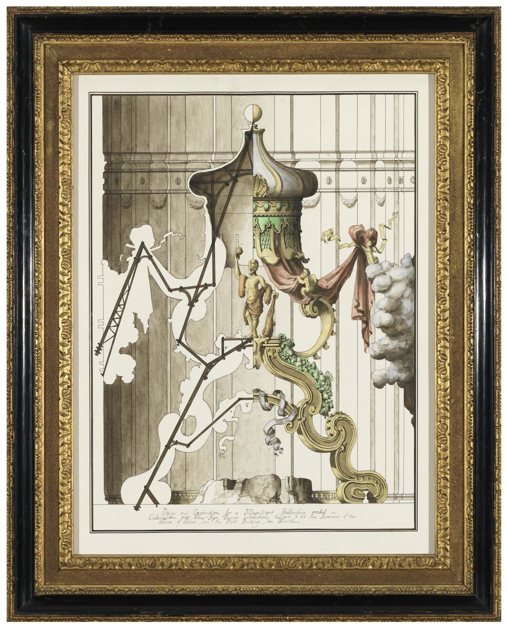 Design and Construction for a Magnificent Baldachin erected in celebration over Stone-Age Ruins erroneously thought to be the Remains of the House of Adam, or the First Building on Earth 2013 Ink and watercolour on paper in artist's frame 71 x 57 cm / 27.9 x 22.4 in