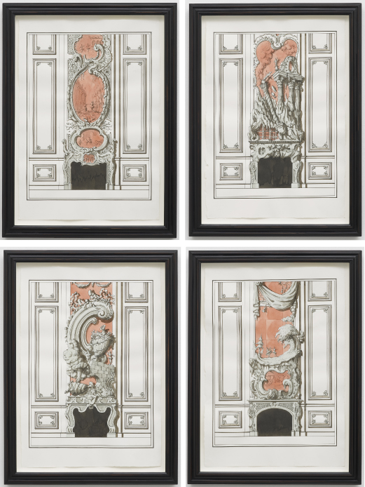 Designs for fireplaces representing famous scenes from Handel's Alcina 2013 Ink and watercolour on paper 4 parts: Each: 59 x 43.5 cm / 23.2 x 17.1 in