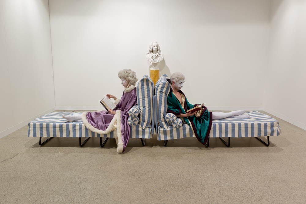 Marie Antoinette and Robespierre engage in an irritable post-coital conversation  2013  Performance with props  Dimensions variable