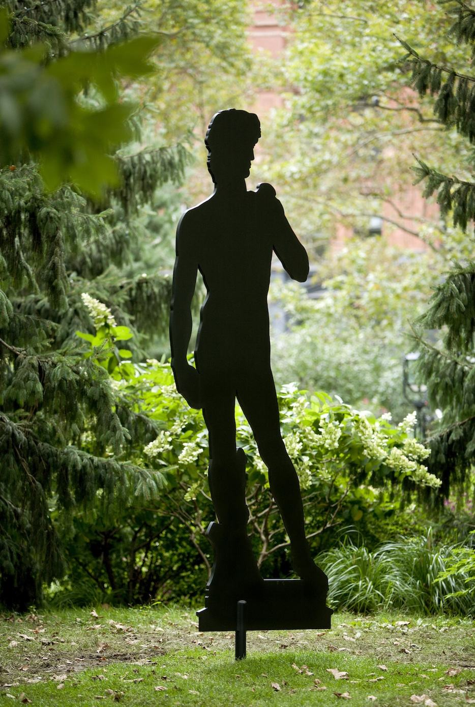 "Sculpture Silhouette (Michelangelo ""David"", 1504  2009  aluminium and polyurethane  114.45 x 46.19 in / 290.73 x 117.32 cm"