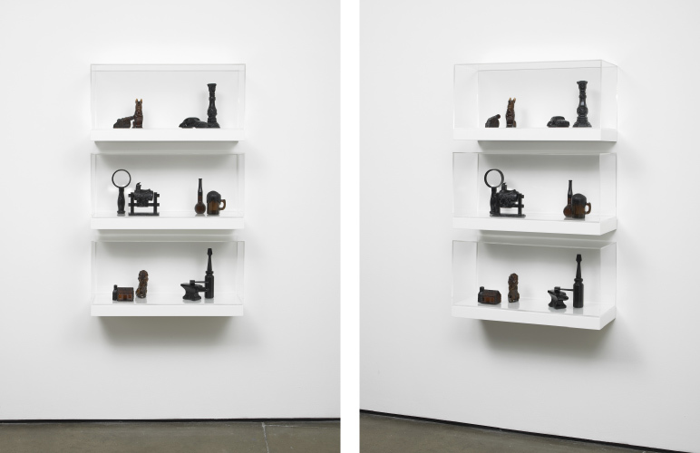 Untitled: Shelves No.4 (series 6)  2013  Various glass, resin, and plastic components, shelves, perspex casing  115 x 70 x 24 cm / 45.2 x 27.5 x 9.4 in