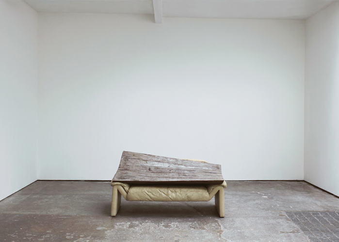 yes no (working title)  2012  Concrete, sofa, magazine   73.5 x 152 x 84 cm / 29 x 60 x 33 in