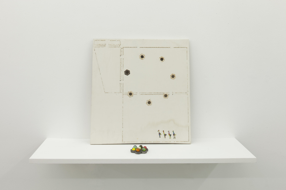 The Dies 2008 Paint, dies, gesso, nuts, marbles 48 x 46 x 24.5 cm / 18.9 x 18.1 x 9.65 in